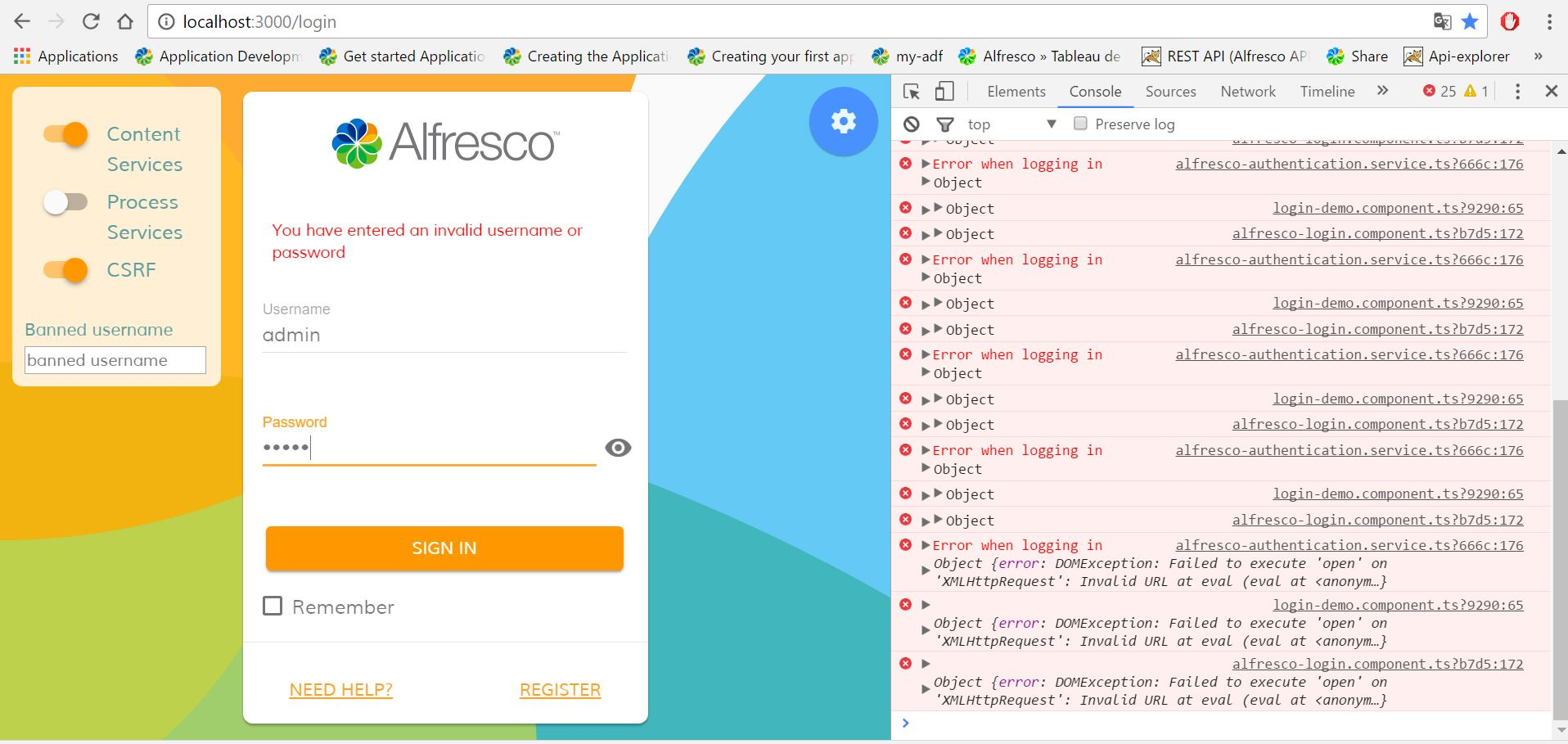 Alfresco ADF login page