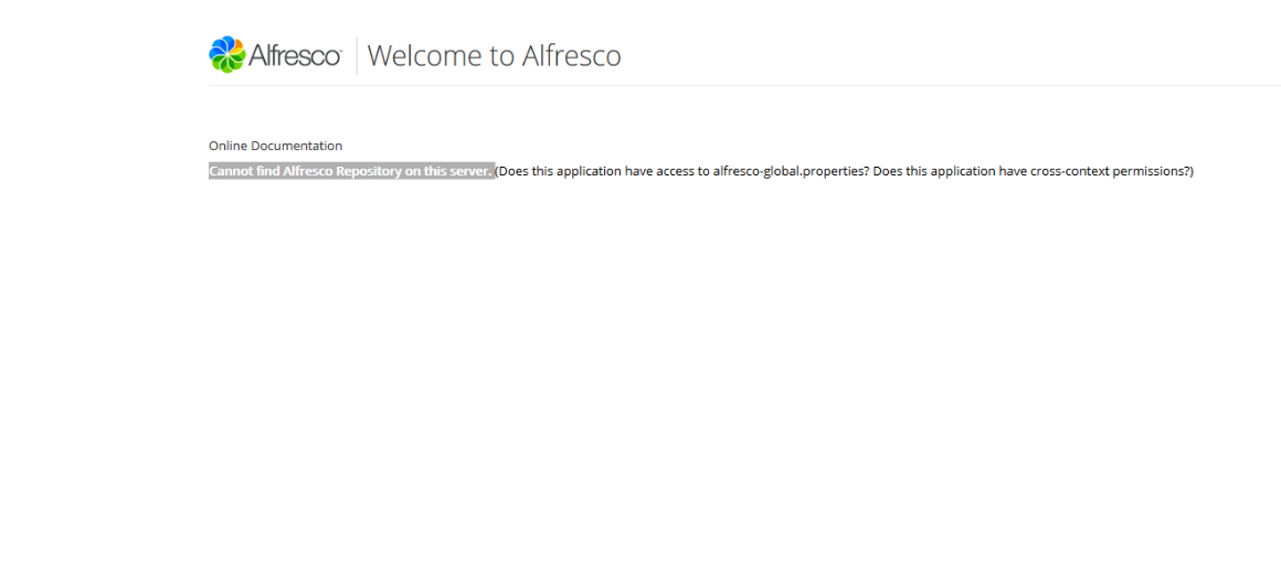Alfresco UI with message