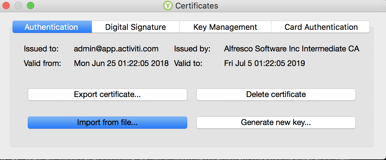 Verify certificates using YubiKey PIV Manager
