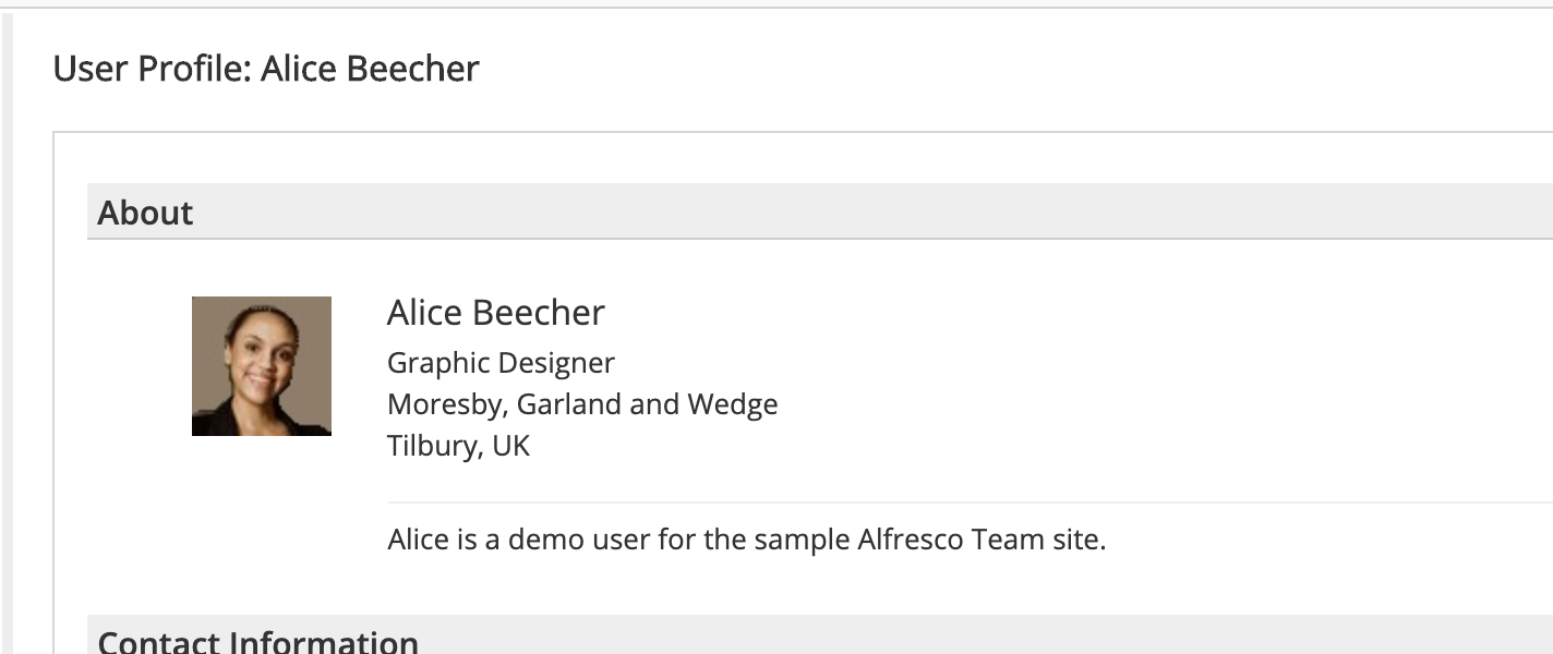 "Screenshot of demo user ""Alice Beecher"", the user I am trying to find in the Add Site page."