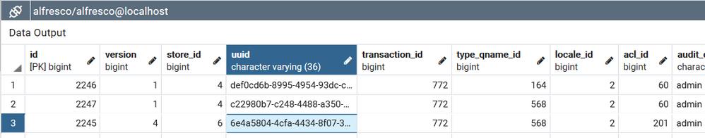 3 entries in alf_node
