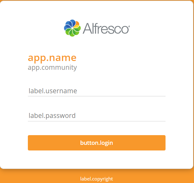 "this is not the normal look of my Alfresco login page, ""label.username"" normally  ""Username"", label.password"" normally ""Password"", and  ""button.login"" normally just ""Sign in"""
