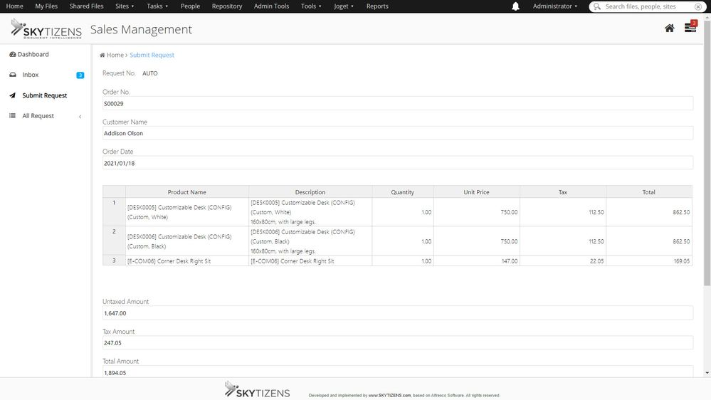 Joget takes Odoo data for automatically filling all fields.