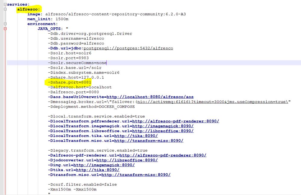 alfresco docker-compose service definition