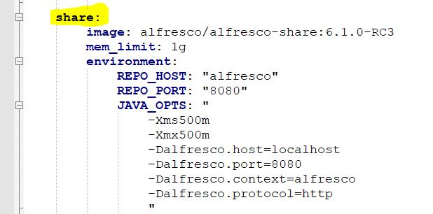 share service definition docker-compose
