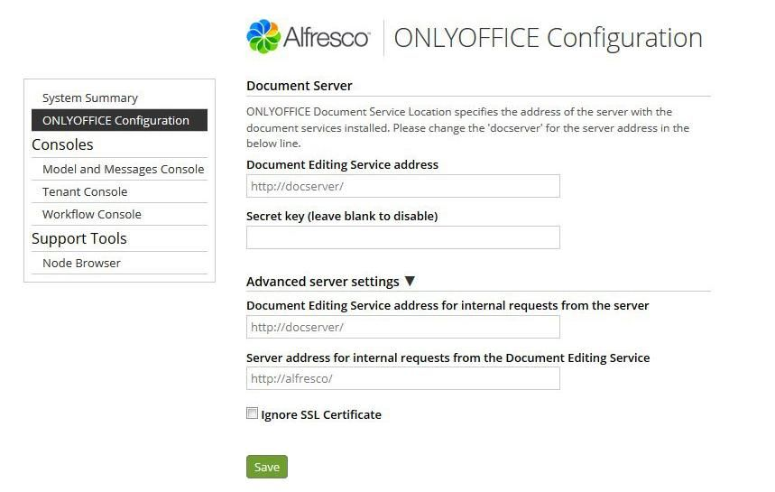 ONLYOFFICE settings within Alfresco.jpg